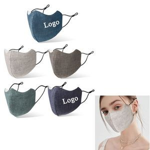 3-layer Cotton Linen Face Mask With Pocket For Filter
